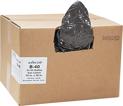 Webster Classic 2-Ply Trash Bags, Medium Strength, .7 mil, 31-33 Gallon Bags, 250/Carton