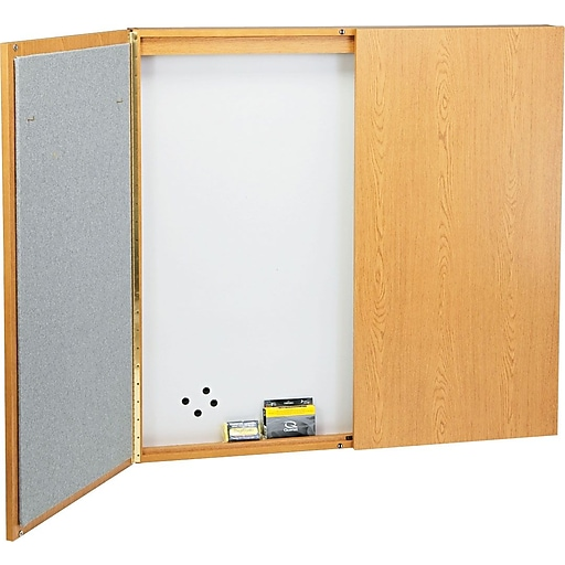 Quartet Laminate Conference Room Cabinet 4 X Whiteboard Bulletin Board Interior Oak Finish 838 Staples