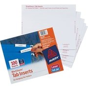 "Avery® Tab Inserts for Hanging File Folders 2"" 100 Inserts Long 5 Tab (011136)"