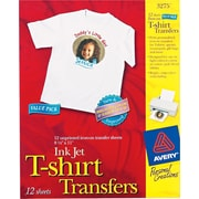 "Avery Personal Creations™ Ink Jet White or Light T-Shirt Transfers, 8-1/2"" x 11"", 12 Shts/Bx"
