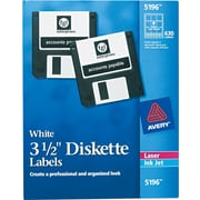 "Avery 5196 Permanent Laser Labels for 3 1/2"" Diskettes, 630/Pack"