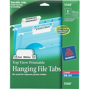 Avery(R) Top-View Printable Hanging File Tabs for Laser and Inkjet Printers 5568, 1/5 Cut, Pack of 72