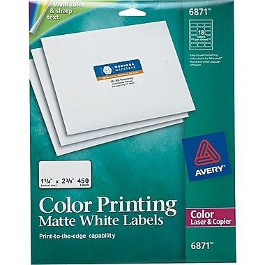 Avery® 6871 Color Printing Matte White Laser Address Labels, 1-1/4
