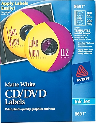 Avery CD/DVD Labels F/ Ink Jet Printers, 100 Ct., Matte White