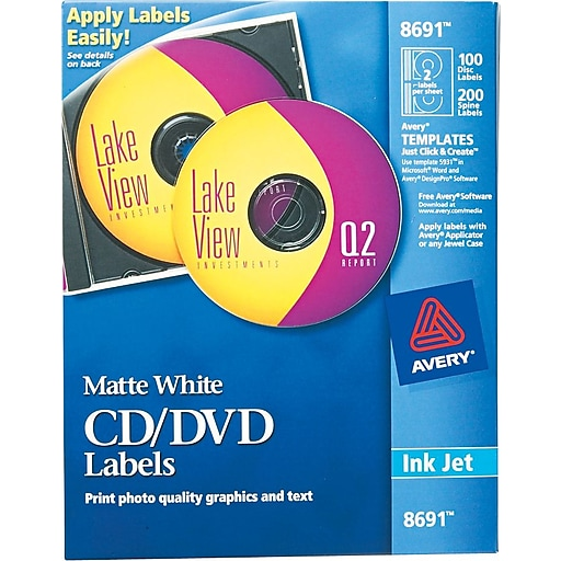 avery r matte white cd labels for inkjet printers 8691 100 face