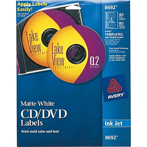 avery 8692 permanent inkjet cd labels 40 disc 80 spine labels