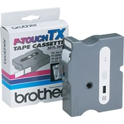 "Brother 1"" White on Clear tape"