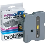 "Brother TX Tape Cartridge, Black on Yellow, 1/2""W x 50'L"