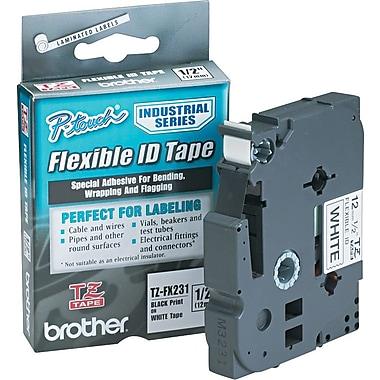 Brother - Ruban pour étiqueteuses, 12 mm, noir sur blanc, TZFX231, Flexible ID
