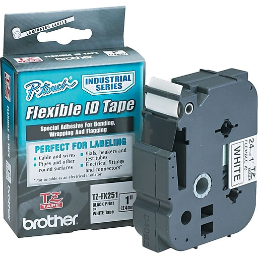 Brother Tz Series Cable Wire Marking Tape Tzfx251 Black On White 1 W X 26 2 L At Staples