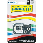 Casio Label Tape, Iron-On, 18mm, Black on White