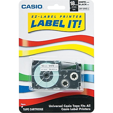 Casio Label Tape, 18mm, Black on White, 3/4