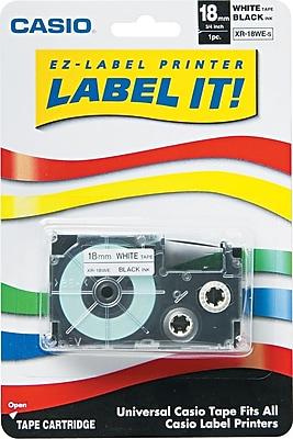 Casio Label Tape, 18mm, Black on White, 3/4