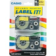 Casio® Label Maker Tape, 18mm, Black on Yellow, 2/Pack