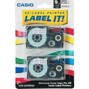 Casio Label Maker Tape, 9mm Black on White, 2/Pack