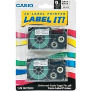 "Casio D1 Series Labeler Tape, XR18WE2S, Black on White, 3/4""W x 26'L, 2/Pk"