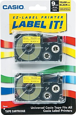 Casio Tape Cassette for Label Makers KL100/750B/7200/8100/C500, Black on Yellow, 3/8