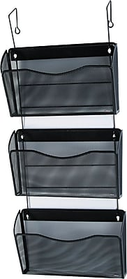 Rolodex® Expressions™ Black Wire Mesh 3-Pocket Hanging Wall File, Letter-Size