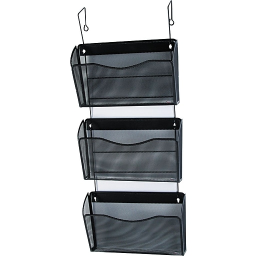 Rolodex® Expressions™ Black Wire Mesh 3-Pocket Hanging Wall File ...