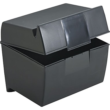 Esselte Black Plastic Index Card File Box with Top Groove, 400-Card Capacity, 4