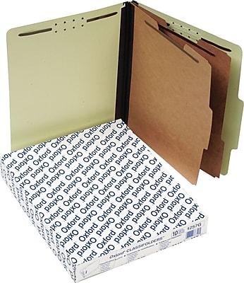 Pendaflex® Pressboard Classification Top Tab Folders, 2 Partitions/6 Fasteners, Light Green, LETTER-size Holds 8 1/2