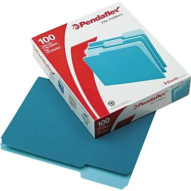 Pendaflex® Top Tab File Folders, 1/3 Tab Cut, Asst Pos, Letter, Teal