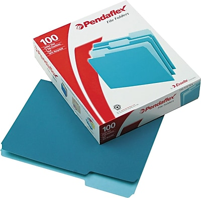 Pendaflex® Colored File Folders, Letter, Teal/Light Teal, 100/Box (1521/3T)