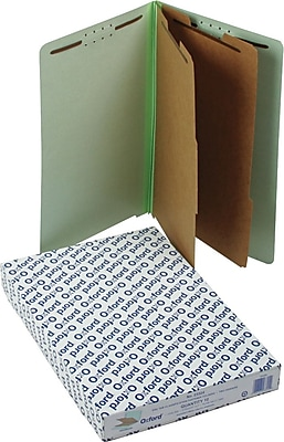 Oxford Pressboard End-Tab Classification Folders, Legal, 6 Section