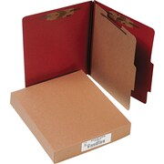 "ACCO Pressboard Classification Folder  4 Parts, 1 Center leaf partition, Earth Red, Letter size Holds 8 1/2"" x 11"", 10/Pk"