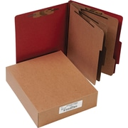 """ACCO Pressboard Classification Folder with Permclip Fasteners, 8 Parts, Earth Red, Letter, Holds 8 1/2"""" x 11"""" Sheets, 10/Pack"""