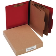 "Presstex Color-Coded Top-Tab Folders with Fasteners, 2 Partition/6 Fasteners, Red, Letter Size, Holds 8 1/2"" x 11"", 10/Box"