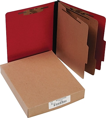 Presstex Color-Coded Top-Tab Folders with Fasteners, 2 Partition/6 Fasteners, Red, Letter Size, Holds 8 1/2