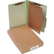 "ACCO Pressboard Classification Folder  4 Parts, 1 Center leaf partitions, Leaf Green, Legal size Holds 8 1/2"" x 14"", 10/Pk"