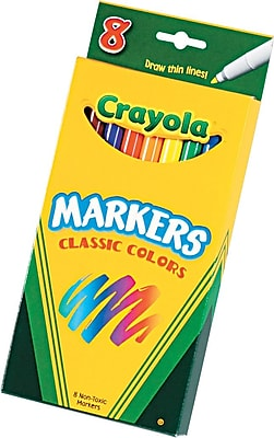 Crayola® Classic Regular Markers, Fine Point, Assorted Colors, 8/Box