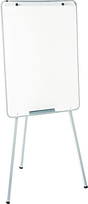 Quartet® Oval Office™ Whiteboard Easel, Holds Flipcharts, Gray Steel Frame, 29