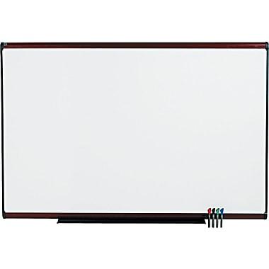 Quartet® Prestige Plus® DuraMax® Porcelain Dry-Erase Board with Mahogany Finish Frame, 6'x4'