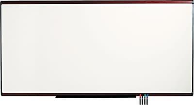 Quartet® Prestige Plus® DuraMax® Porcelain Whiteboard, Mahogany Finish Frame, 8'W x 4'H