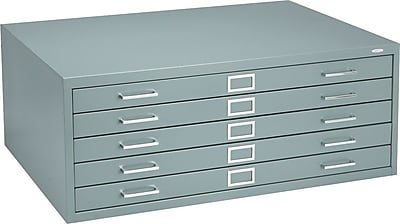Safco 5 Drawer Flat File, Gray,Specialty, 40.5''W (4994GRR)