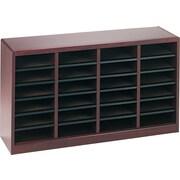 """Safco E-Z STOR® 24 Compartment Wood Literature Organizer, 40"""" x 11 3/4"""" x 23"""", Mahogany"""