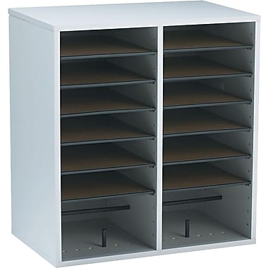 Safco® Adjustable Wood Literature Organizer, 16 Compartment, 19 1/2