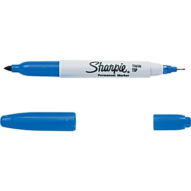 Sharpie® Twin Tip Permanent Marker, Fine-Point and Ultra-Fine Point, Blue, (32003)