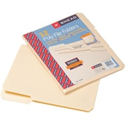Smead®  Poly File Folder, 1/3-Cut Tab, Letter Size, Manila, 12 per Pack (10510)