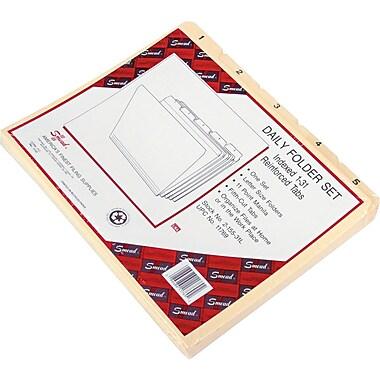 Smead® Indexed File Folder Set, Daily (1-31) Folders, Reinforced 1/5-Cut Tab, Letter Size, Manila, 31 per Set (11769)