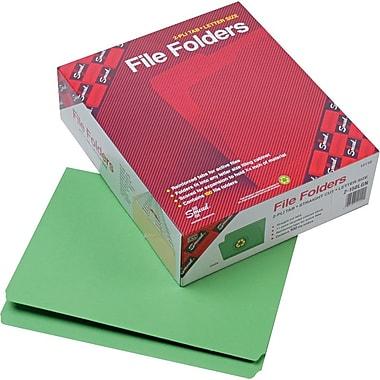 Smead® File Folder, Reinforced Straight-Cut Tab, Letter Size, Green, 100 per Box (12110)
