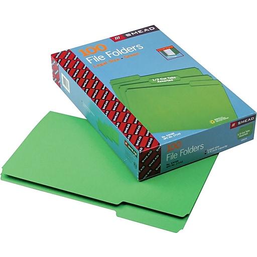 smead file folder 1 3 cut tab legal size green 100 per box