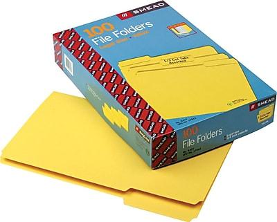 Smead File Folder, 1/3-Cut Tab, Legal Size, Yellow, 100 per Box (17943)