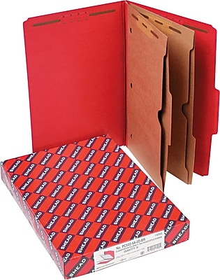 Smead 2 Part Classification Folders with Pocket Dividers, Red, Legal,-size Holds 8 1/2