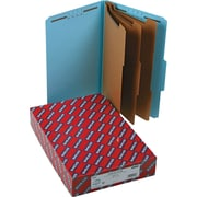 "Smead®  Pressboard Classification Folder with SafeSHIELD® Fasteners, 3 Dividers, 3"" Exp, Legal Size, Blue, 10 per Box (19094)"