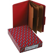 "Smead®  Pressboard Classification Folder with SafeSHIELD®, 3 Dividers, 3"" Expansion, Legal Size, Bright Red, 10 per Box (19095)"