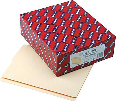 Smead Shelf-Master Reinforced End-Tab 2-Tab File Folders, Bottom Position, Letter Size, Manila, 100/Box (24128)